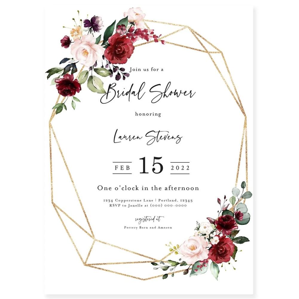 Burgundy Bridal Shower Invitation in 2020 Geometric