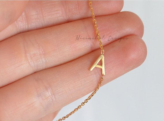 Gold Sideways Initial Necklace Gold Initial Necklaceletter Etsy Collier Initiale Collier Bijoux