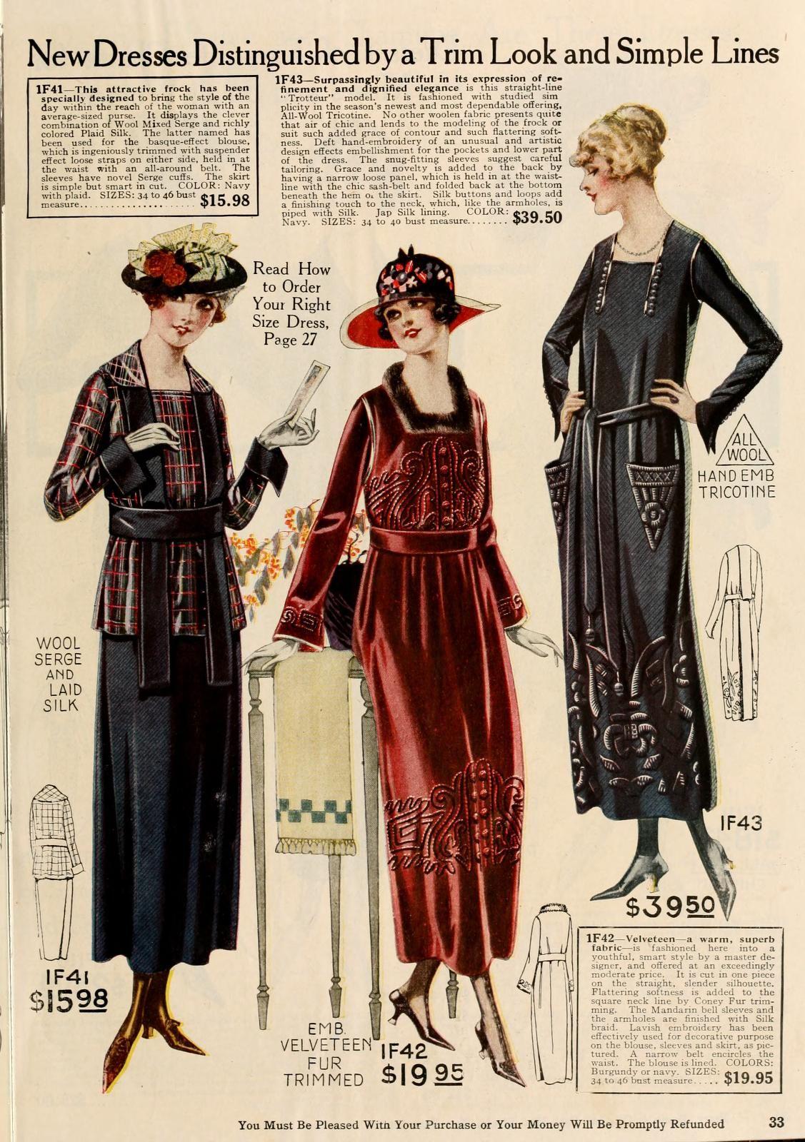 Ladies Dresses for Winter #1919 #1910s