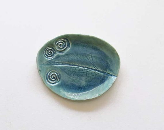Ceramic Textured Oval Dish  Spiral  Leaf Imprint by acosmicmermaid