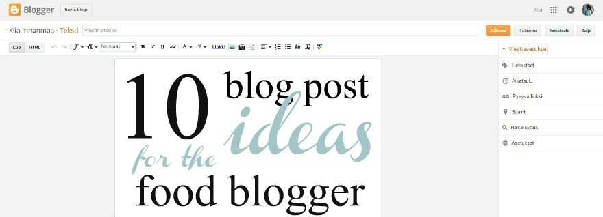 10 BLOG POST IDEAS FOR THE FOOD BLOGGER