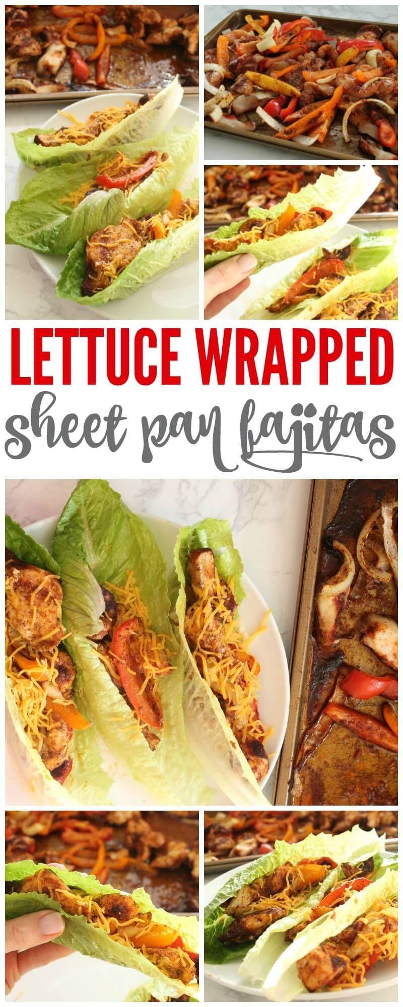 Lettuce Wrapped Sheet Pan Fajitas with Homemade Fajita Seasoning #homemadefajitaseasoning