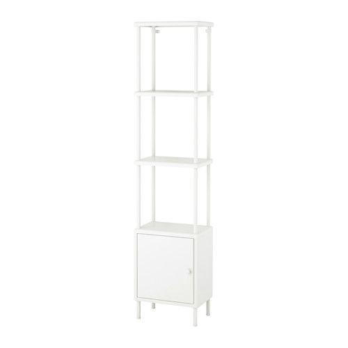 IKEA - DYNAN, Hylly + kaappi, , Yksi kaluste, kaksi käyttötapaa. Oven taakse voit piilottaa tavarat, joita et halua pitää näkösällä. Avohyllyillä taas pidät puhtaat pyyhkeet ja muut tärkeät tavarat helposti käden ulottuvilla.Hyllyjen välissä on tilaa jopa kahdeksalle kylpypyyhkeelle.Avohyllyjen ansiosta tavarat ovat hyvin näkösällä ja helposti käden ulottuvilla.Hylly on leveä, mutta syvyydeltään kapea. Tämän ansiosta saat tavaroillesi reilusti säilytystilaa, mutta samalla säästät…