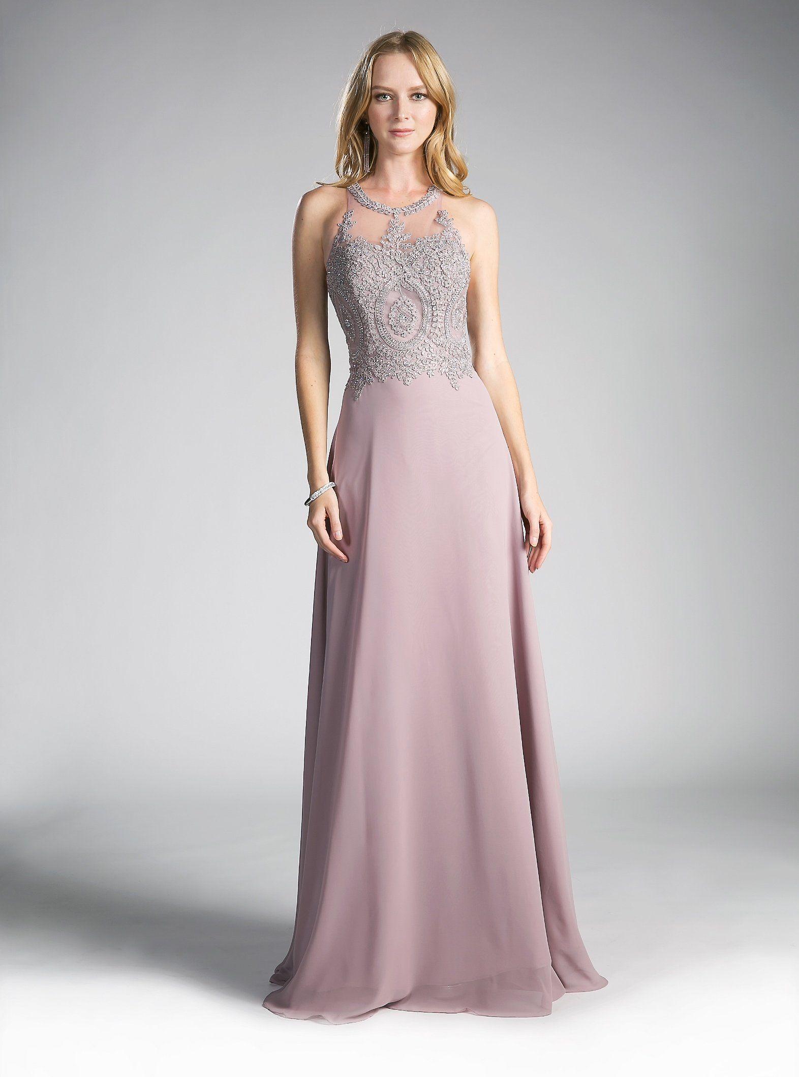 cbe49f5025c Long Illusion Dress with Appliqued Bodice by Cinderella Divine UJ0120