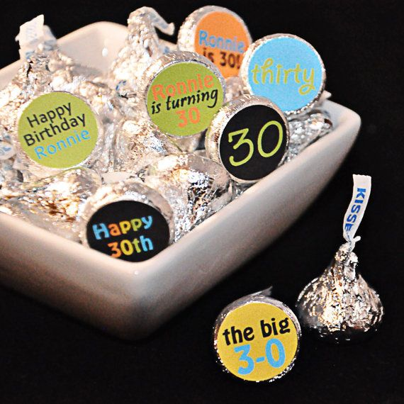 Printable Personalized 30th Birthday Hershey Kiss Candy