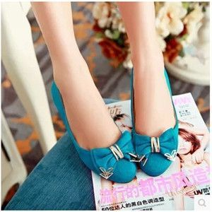 Women new fashion Spring summer round toe bow flats scrub PU shallow mouth sweet solid color shoes large plus size 40-43