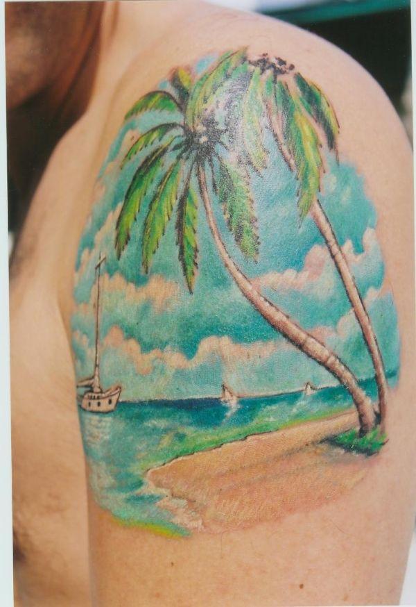 Beach tattoos beach tattoos pinterest tattoo beach for Beach scene tattoos