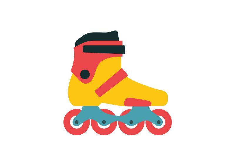 Roller Skate Free Flat Style Vector Icon Roller Skating Roller Inline Skate