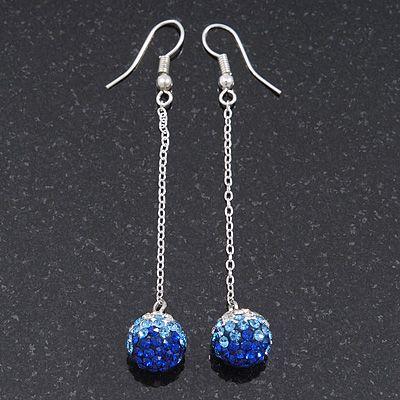 116bb6a23 Sapphire Blue/ Clear Coloured Swarovski Crystal Ball Chain Drop Earrings In  Silver Plating - 10mm Diameter/ 6.5cm Length - main view