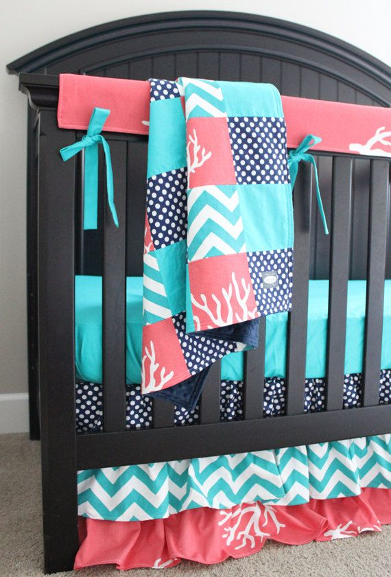 Custom Crib Bedding Coral Navy And Turquoise Baby Girl Bedding