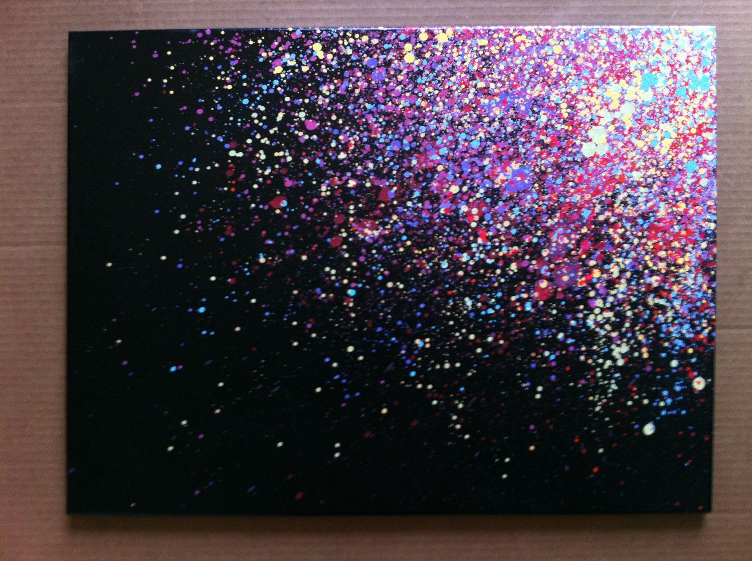 Splatter Canvas Art...I need to try this :) & add Xmas lights!