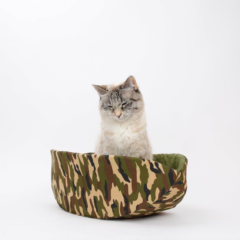 Camouflage cat bed Tactical Cat Canoe bed Etsy Cat bed