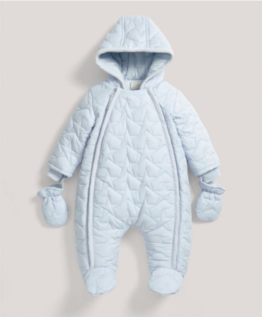 d7c24818b Blue Quilted Pramsuit