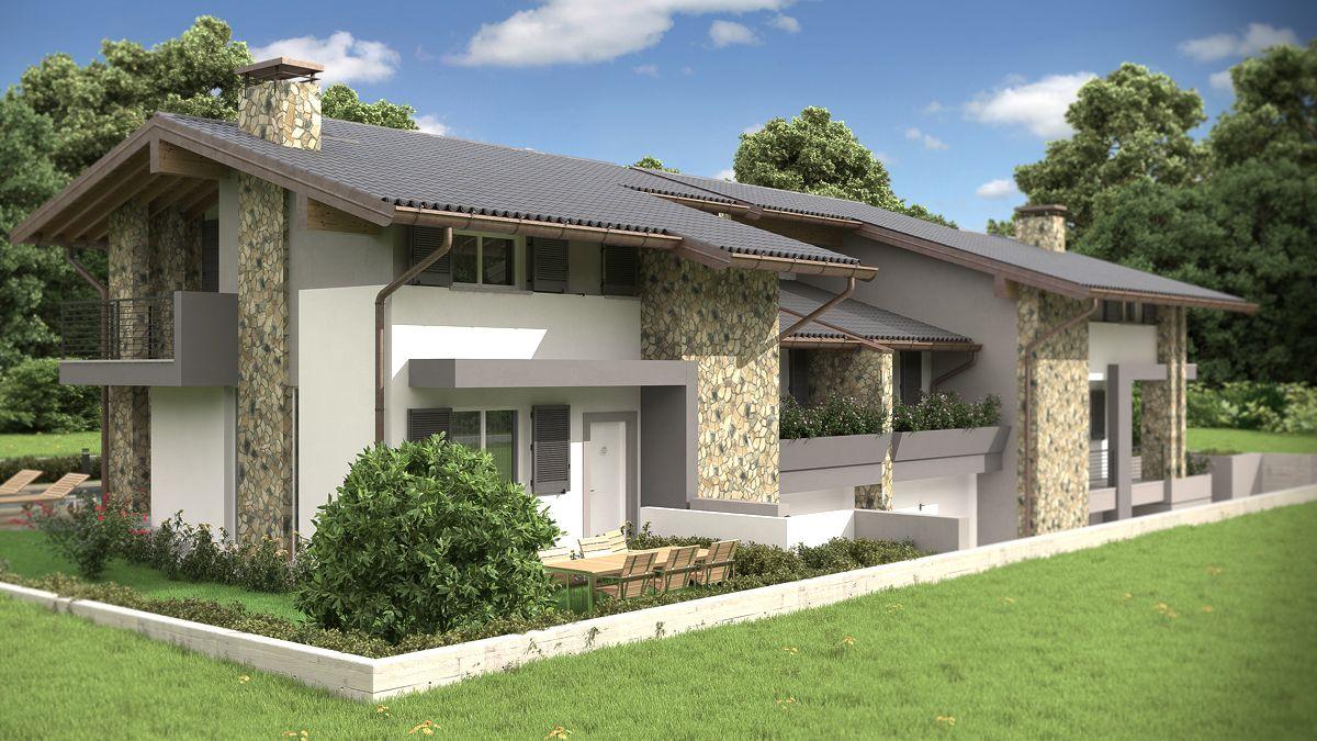 Rendering architettonici fotorealistici degli esterni di for Disegni di case moderne