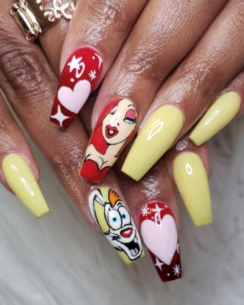 Handpainted Nail Art Of Jessica Rabbit And Roger Rabbit Nails