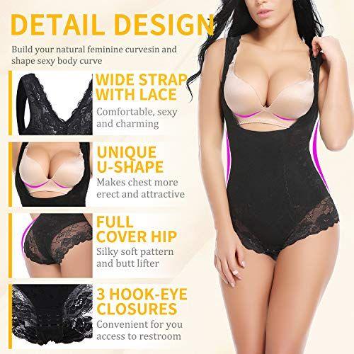 c696b4d290c Vaslanda Slimming Full Body Shaper for Women Tummy Control Bodysuit Butt  Lifter Shapewear with Sexy Lace