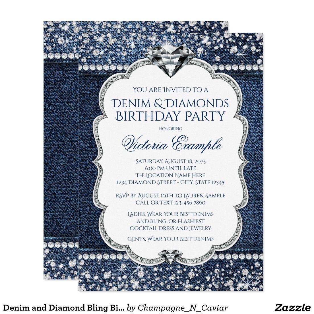 Denim and Diamond Bling Birthday Party Invitations | Denim and ...