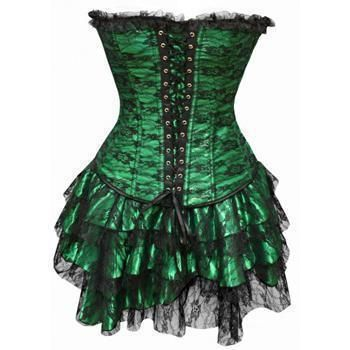 strapless lace women two piece set corsets  steampunk