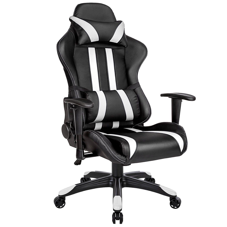 chaise bureau gamer en noir et blanc