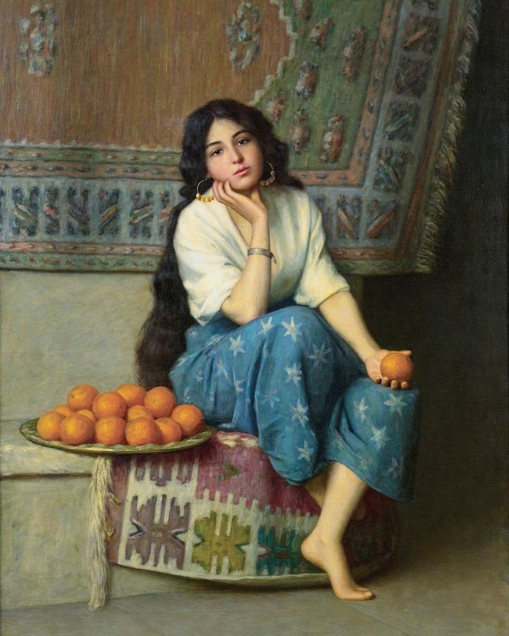 "Enrique Serra y Auque (Spanish, 1859-1918) ""The orange seller""... -  - #Kunst"