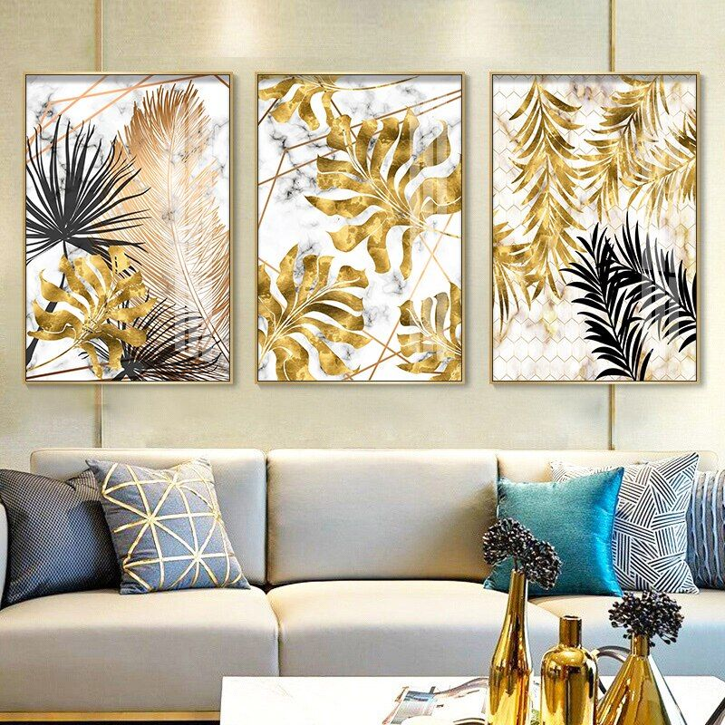 New Golden Black Leaf Plants Canvas Painting Marble Nordic Posters And Prints Wall Art Pictures Fo In 2021 Living Room Pictures Home Decor Paintings Living Room Modern