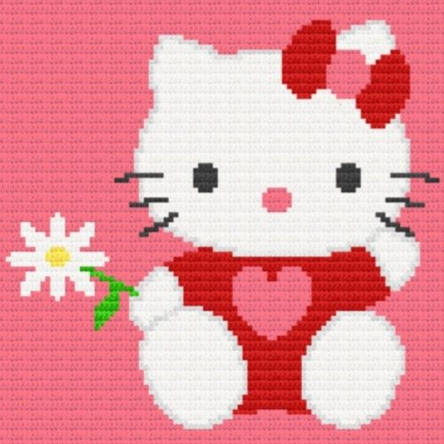 Hello Kitty and Blue Birds Afghan Graph Crochet Pattern | eBay ...