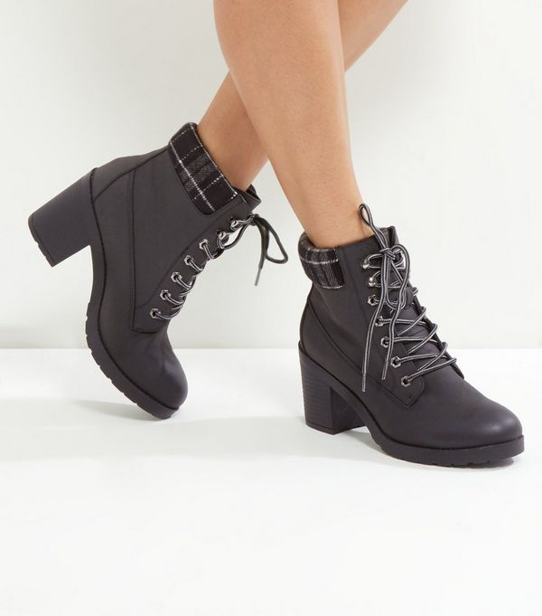 Black Check Top Lace Up Ankle Boots | New Look | 2017 Wishlist ...
