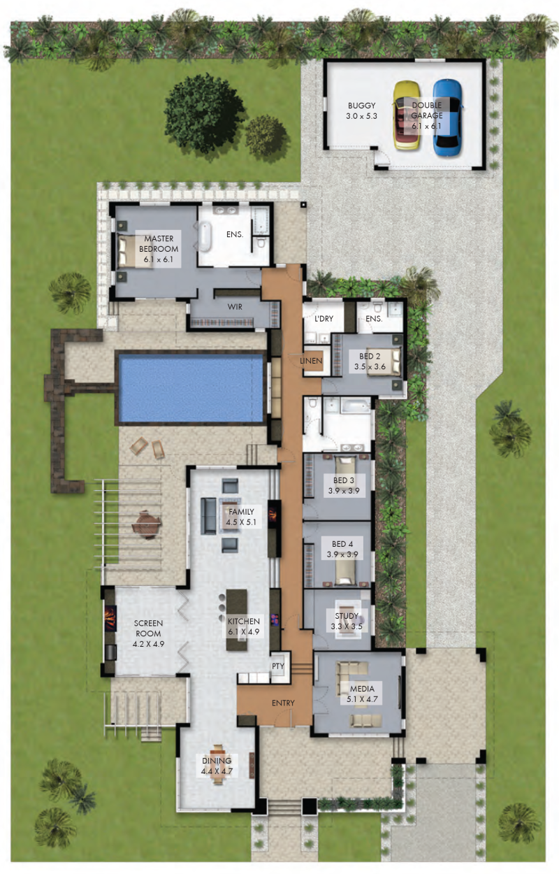 The house plan would suit large corner block quite well for House blueprint finder