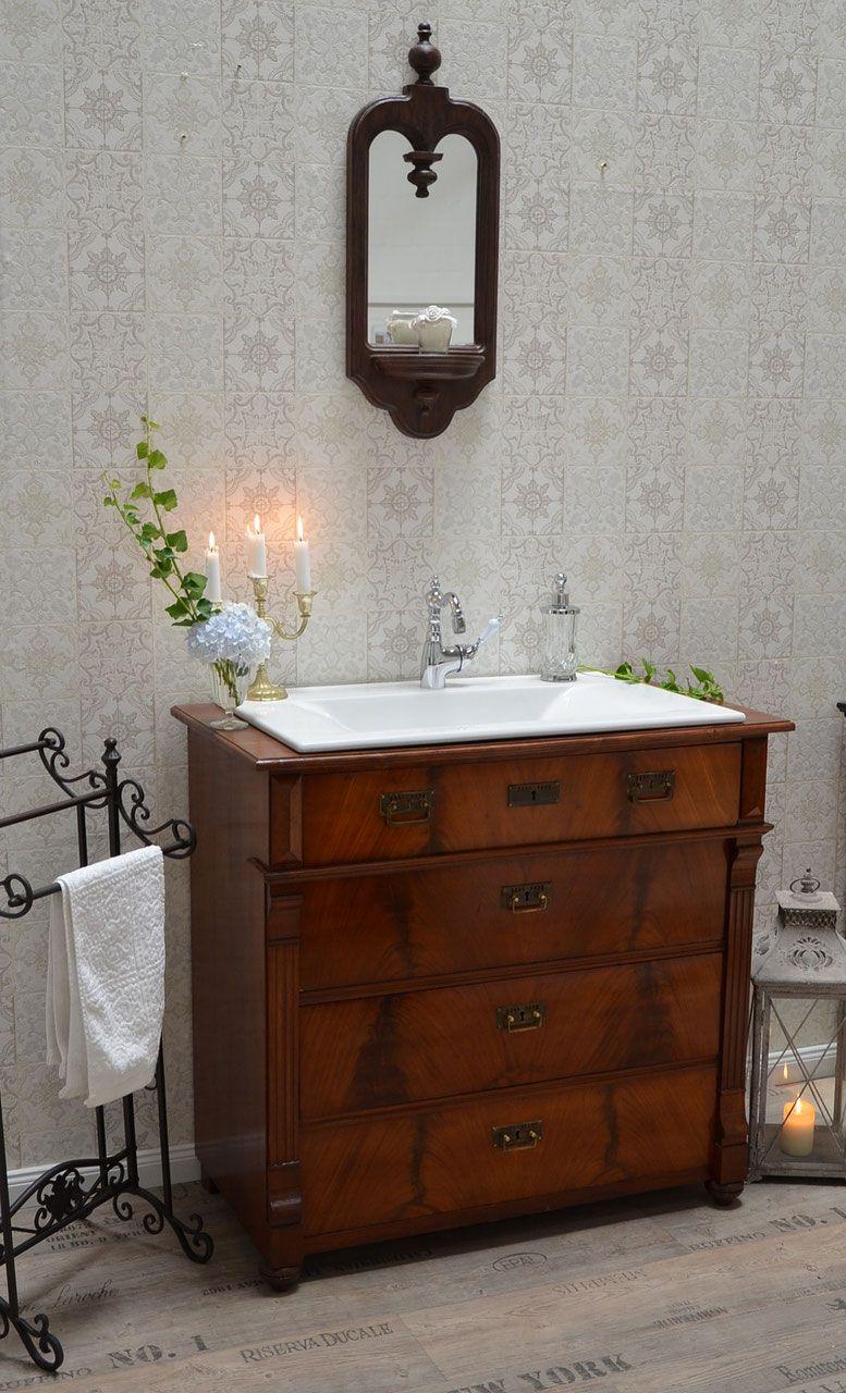Antike Kommode als Waschtisch mit Einbaubecken Badezimmer Landhaus