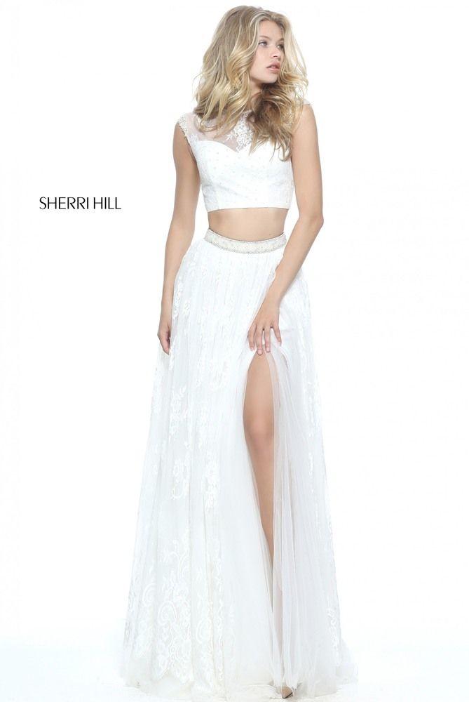 Ivory Sherri Hill 51118 Two Piece Lace Prom Dress