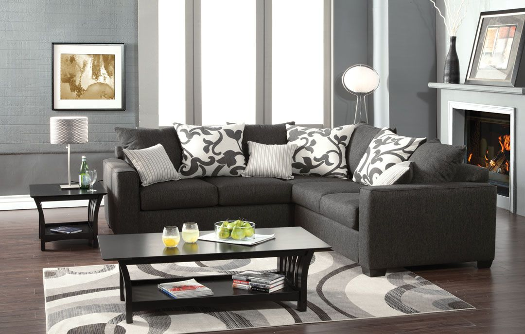 Furniture   Design   Living room furniture   Sofas and Sets   Sectional  Sofas   Cranbrook contemporary style medium gray fabric Sectional sofa  with  A M B  Furniture   Design   Living room furniture   Sofas and  . Gray Living Room Furniture. Home Design Ideas