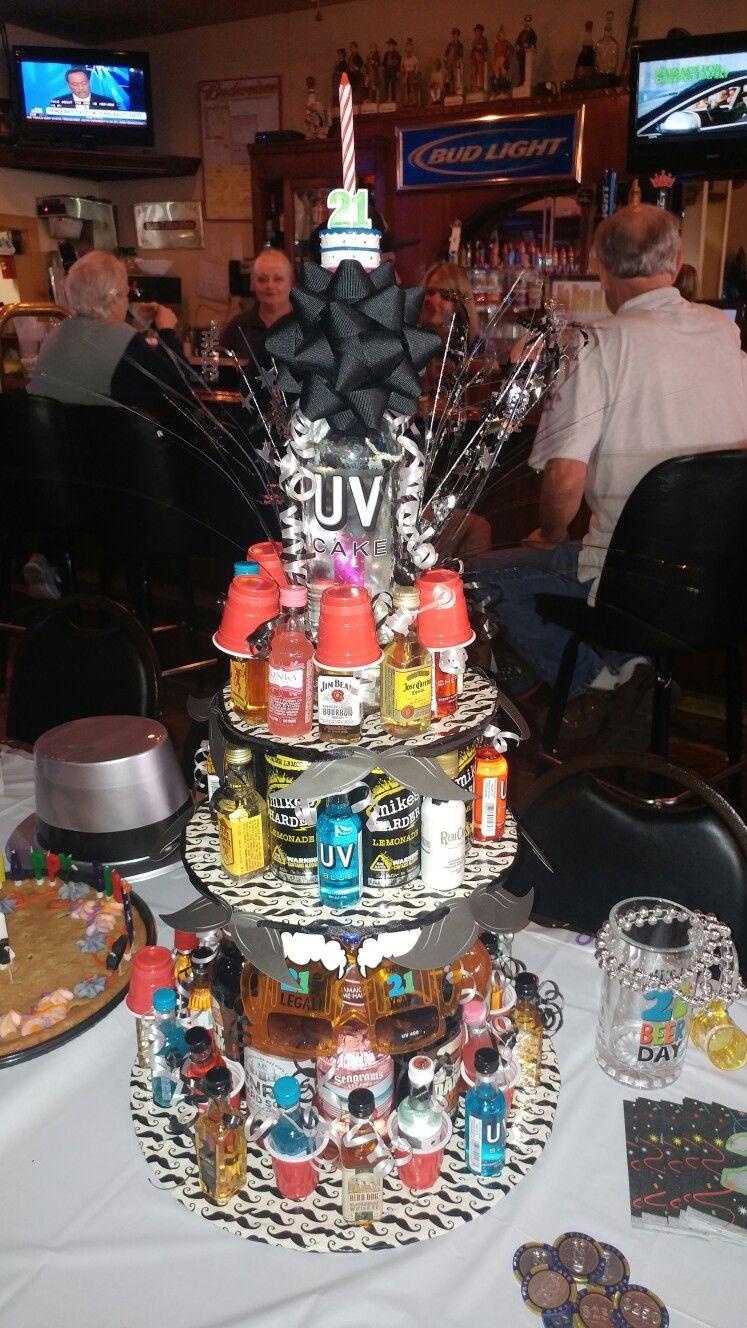 Super Alcohol Tower Cake 21St Birthday Cake 21St Birthday Cakes Personalised Birthday Cards Beptaeletsinfo
