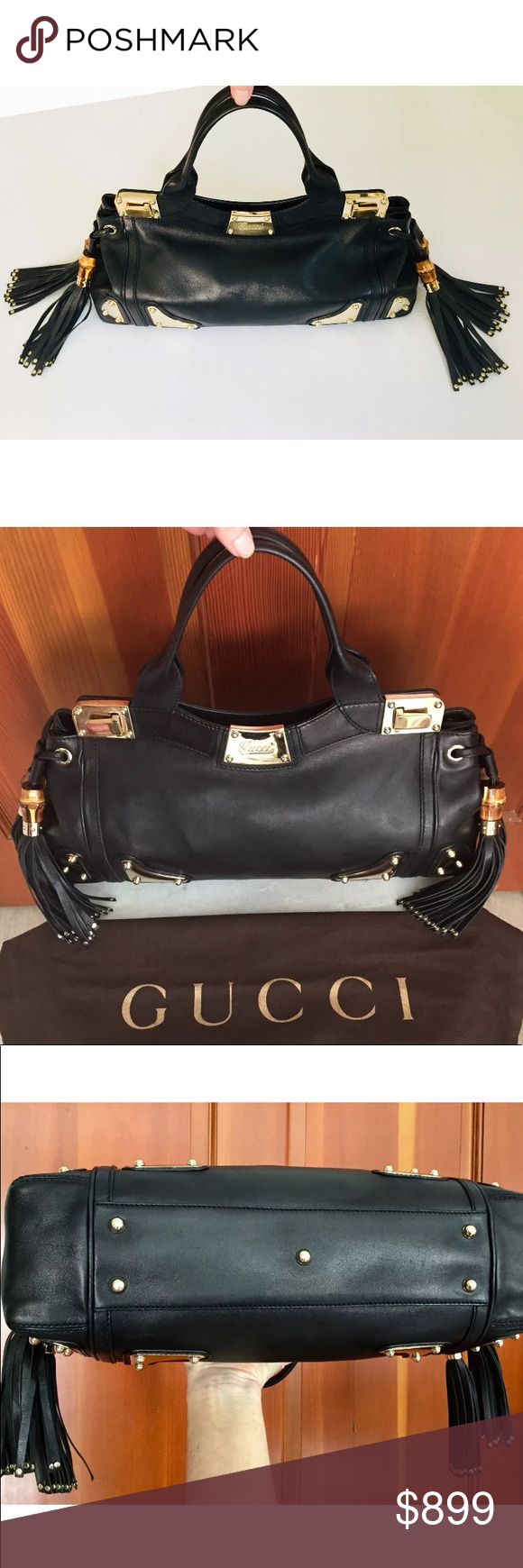 fbd16967c2fd Black Leather · Signs · Gucci Race Bamboo Tassel Handbag This is a  beautiful and Rare Gucci Race Bamboo Tassel Handbag
