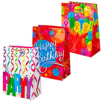Birthday Themed Gift Bags Have Colorful Designs And Measure 13x5x18 In To Hold Large Gifts Also Great For Resale Shops Convenience Stores