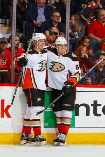 buy online 49a6b f84c2 Hampus Lindholm #47 and Rickard Rakell #67 of the Anaheim ...