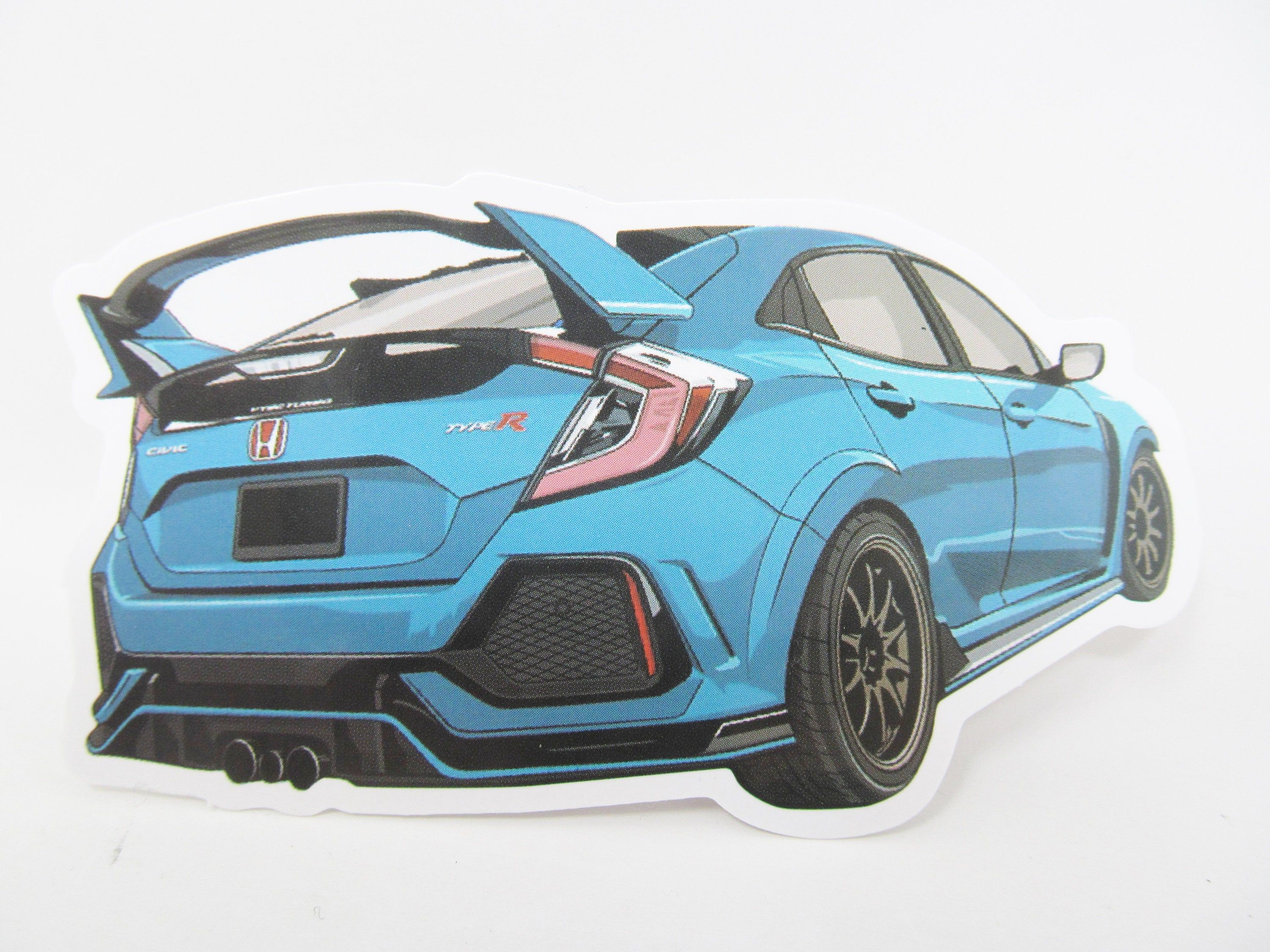 Honda Civic Blue Car Sticker Great For Your Laptop Water Bottle Cell Phone Etc Ships Next Day By Cellardeals On In 2021 Honda Civic Honda Civic Car Civic Car [ 2250 x 3000 Pixel ]