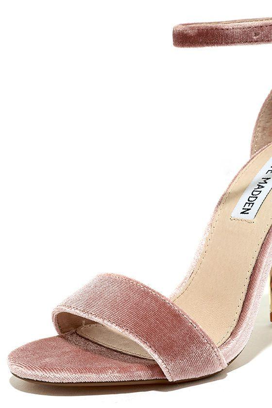 67e01cebef9 Steve Madden Carrsonv Pink Velvet Ankle Strap Heels | My style ...