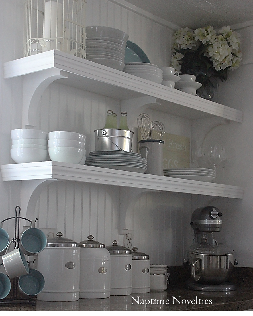 Drawers Instead Of Kitchen Cabinets: DIY Open Shelves In Kitchen And Beadboard Backsplash. I