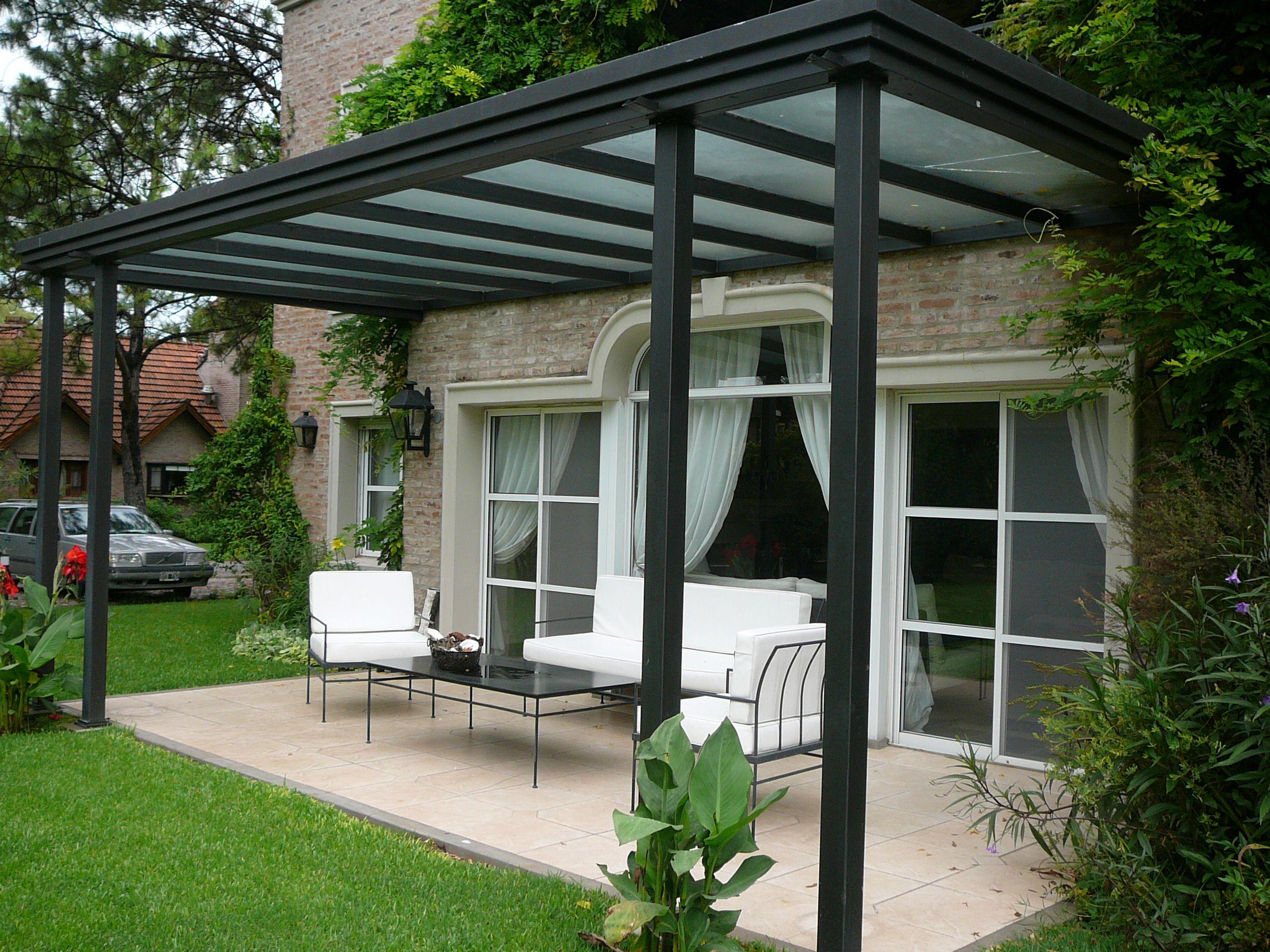Galer a con techo de vidrio armado techo cochera - Decoracion de entradas de casas ...