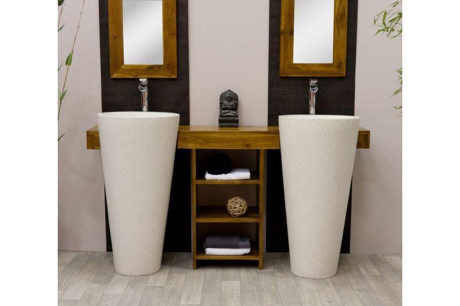 meuble salle de bain teck double vasque