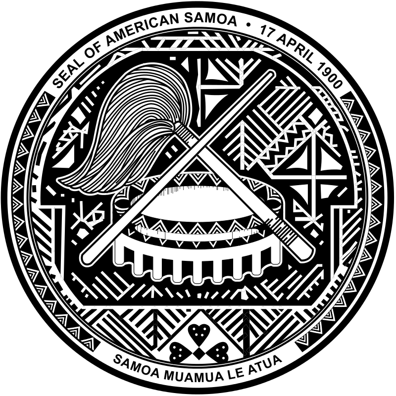 Coat Of Arms Of American Samoa Showing The Symbols Of Matai Status
