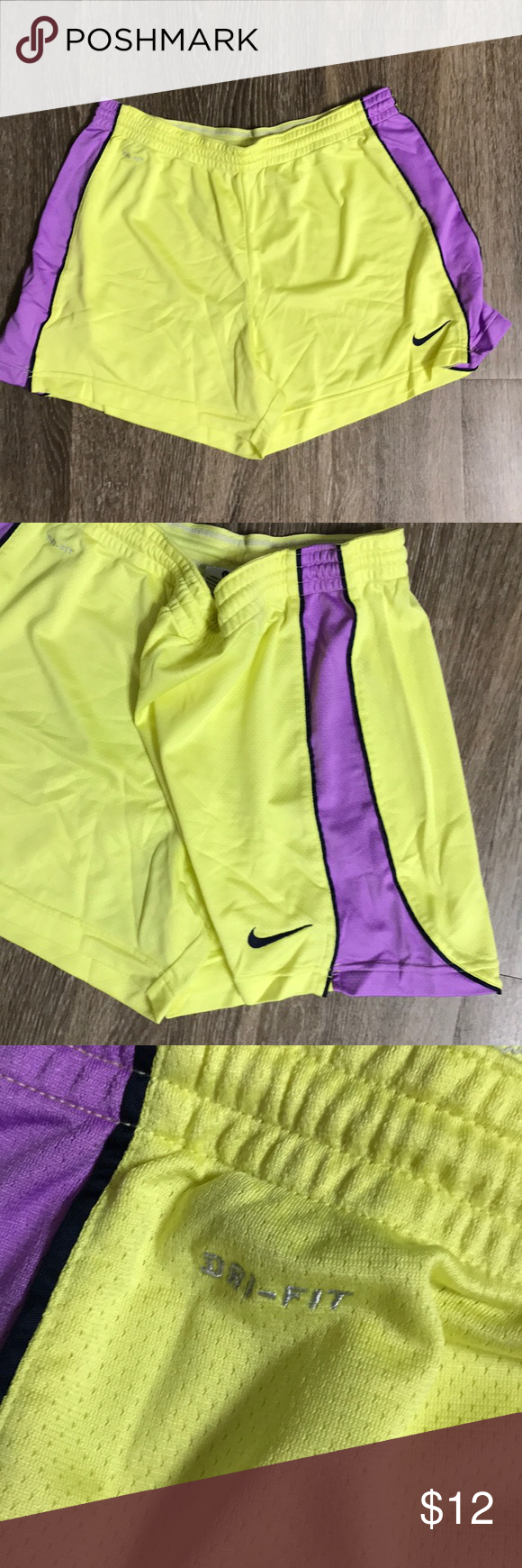 Yellow Purple Nike Dri Fit Shorts Large Euc Nike Dri Fit Shorts Yellow With Light Purple Stripes On The Side Clothes Design Fashion Design Workout Shorts