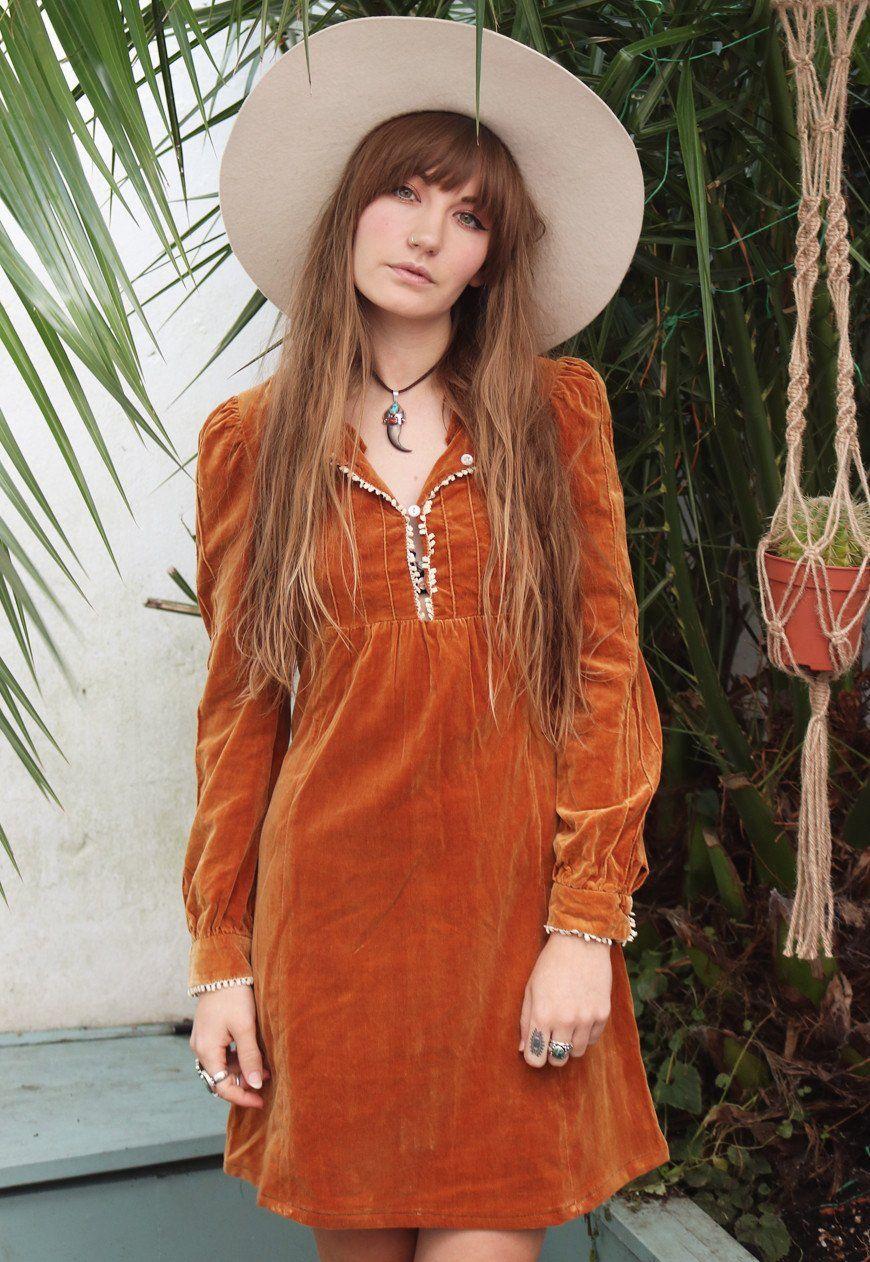 1970s Rust Velvet Dress