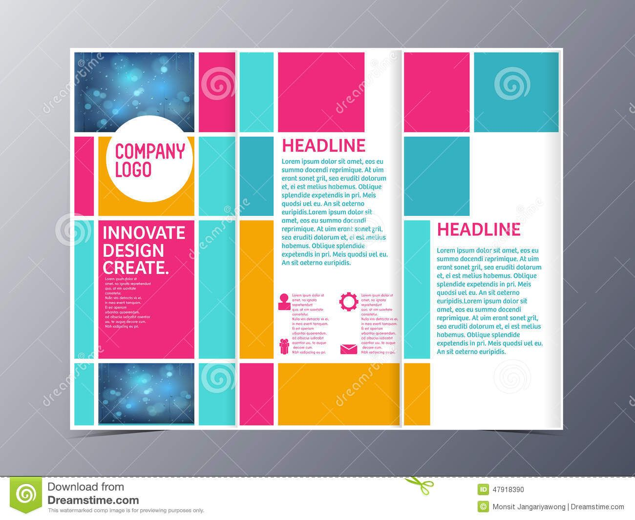Abstract Colorful Brochure Design Template Vector Trifold - Tri fold brochure design templates