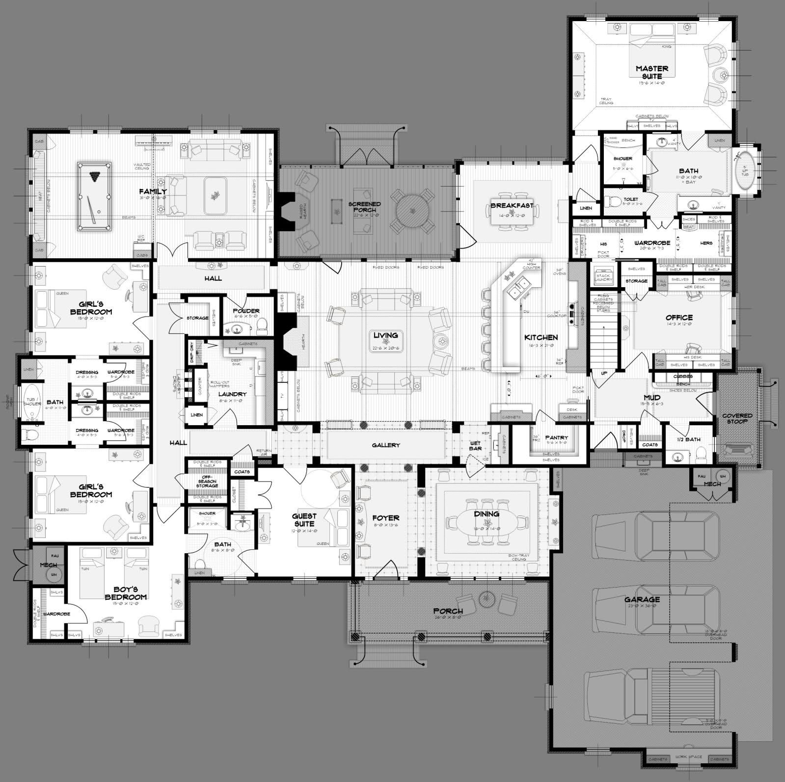 Big 5 bedroom house plans way more space than we need but awesome layout you could host guests and have lots of family over