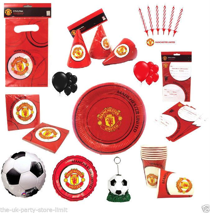 Manchester United Football Birthday Party Invites Cups Napkins Plates More Football Birthday Party Football Birthday Baby Boy First Birthday