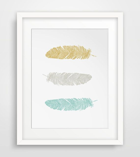 Teal Feathers, Yellow and Blue, Printable Wall Art, Teal
