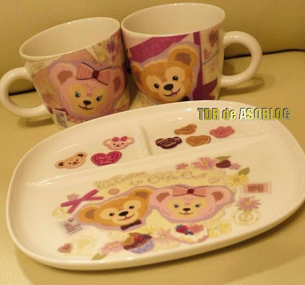 Duffy & Sherrie May cafe mugs and plate only available at Disney Sea