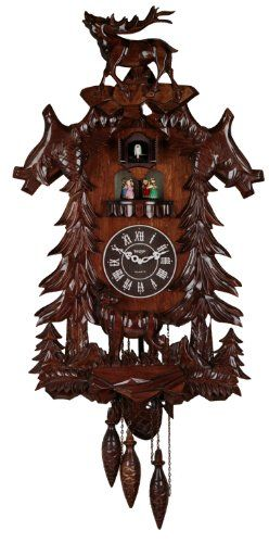 Vivid Large Deer Handcrafted Wood Cuckoo Clock With 4 Dancers Dancing With Music You Can Get More Details By Clicking On With Images Cuckoo Clock Large Wall