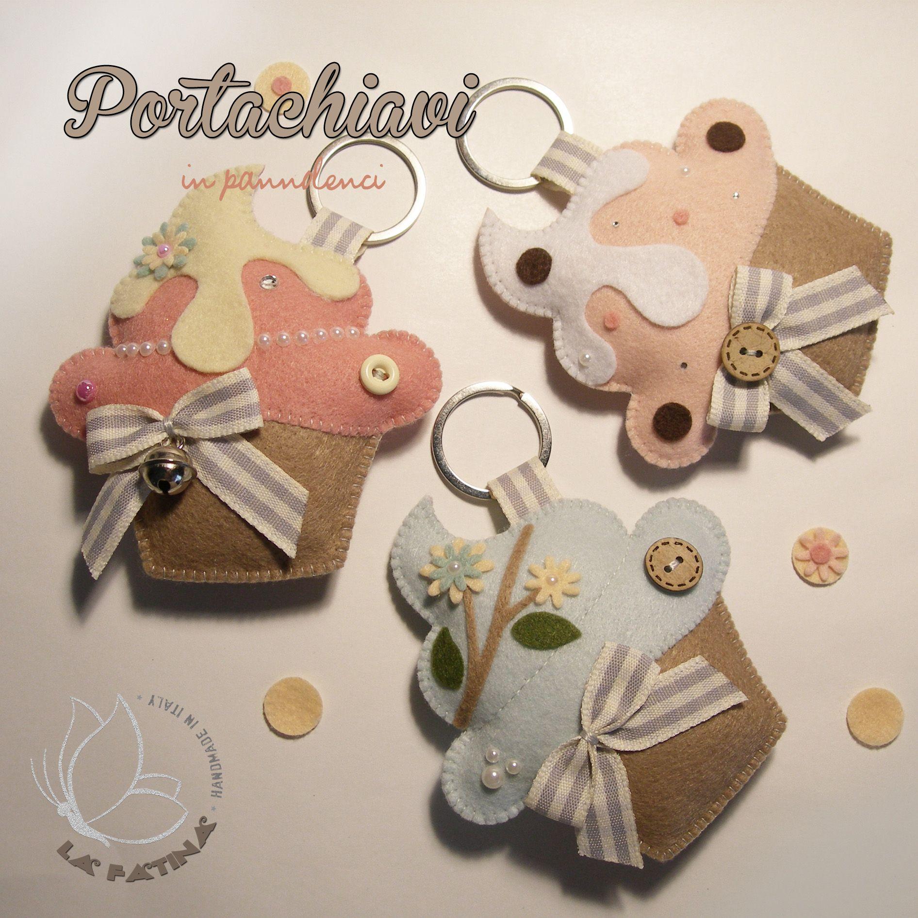 Portachiavi in pannolenci a forma di cupcake progetti da for Portachiavi pannolenci